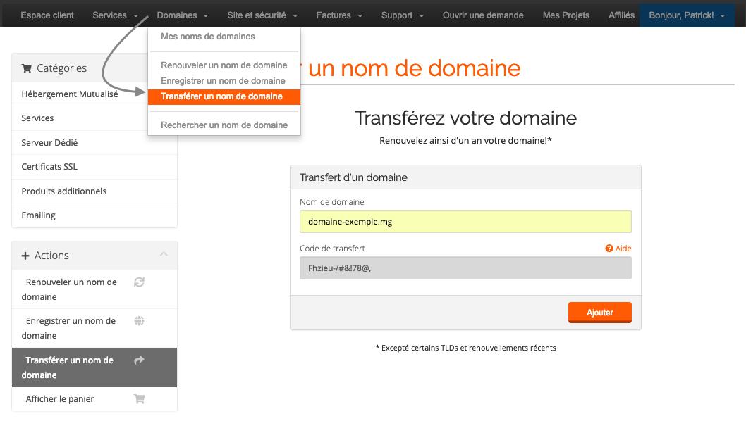 Transfert de nom de domaine